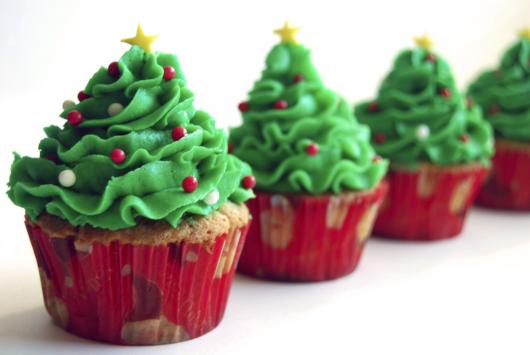 Christmas cupcake with homemade whipped cream