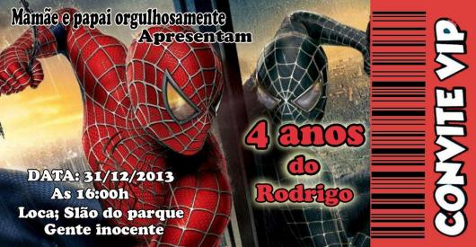 Spider-Man Invitations Black and Red Ticket
