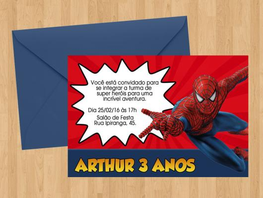 Spider-Man invitations card with envelope