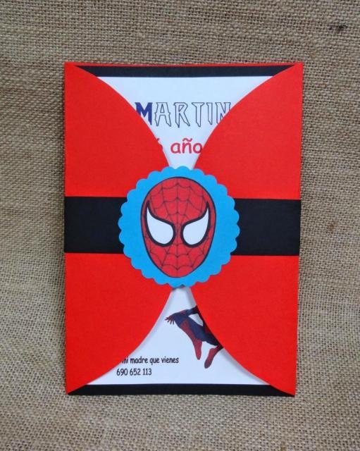 Red and Black Scrapbook Spider-Man Invitations