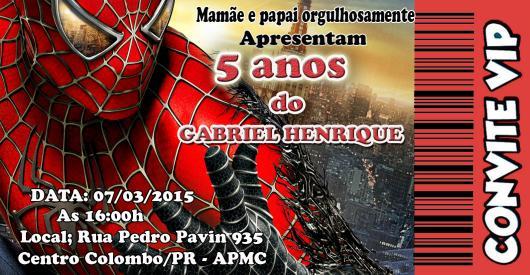 Spider-Man Printed Ticket Invitations
