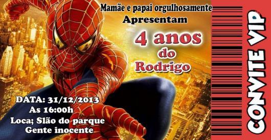 Spider-Man Ticket Invitations