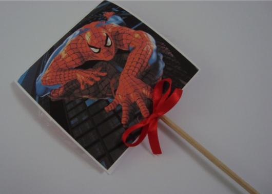 Spider-Man Lollipop Invitations on a stick