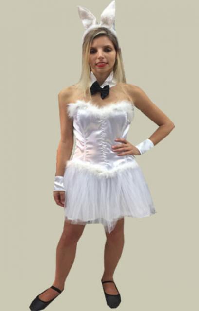 White rabbit costume with black tie