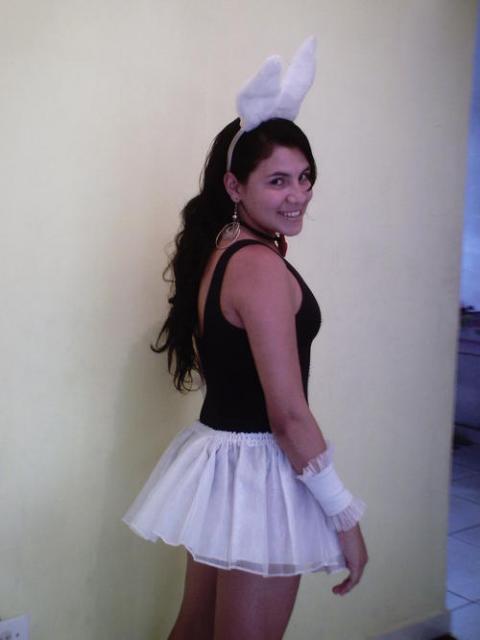 Black and white makeshift rabbit costume