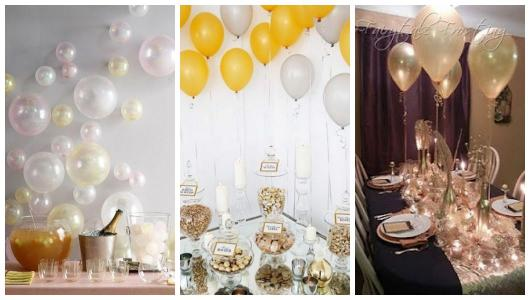 Photo montage of decorations with balloons.