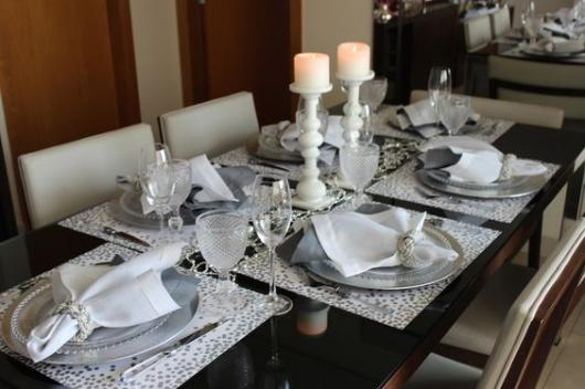 Table with white and silver items.