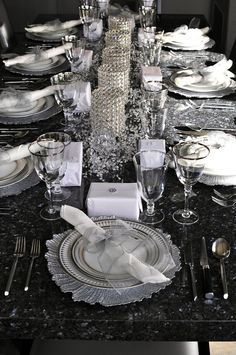 Table with silver decorative items.
