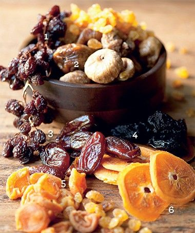 Various dried and candied fruits.