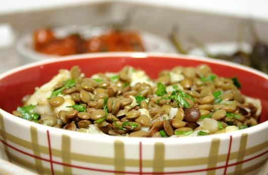 Lentil and cod in a bowl,