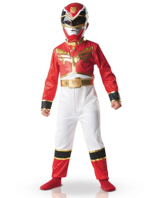 Boy in red Power Rangers costume.