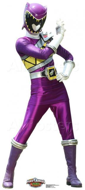 Purple costume with yellow accents.