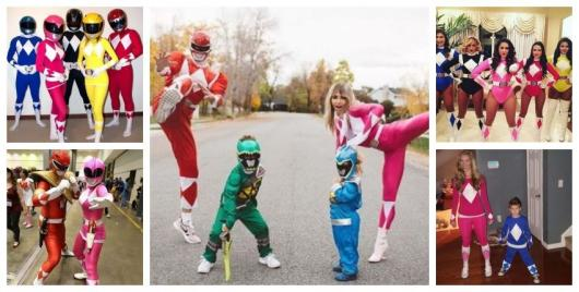 Montage with photos of groups dressed as Power Rangers.
