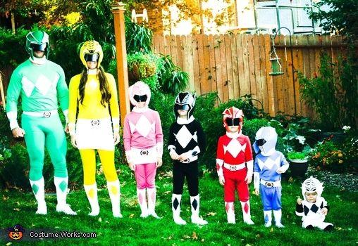 Family dressed as Power Rangers.