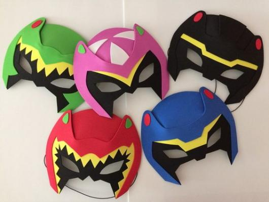 Red, Blue, Black, Pink and Green Power Rangers Masks.