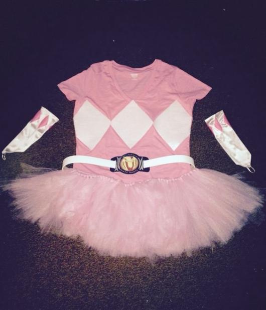 Pink costume with tutu skirt.