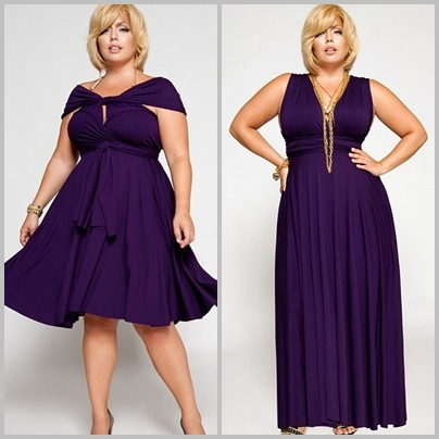 Models wear short and long dresses in the same color (dark purple).