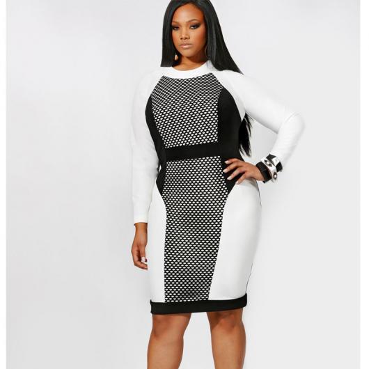 Model wears white, gray and black long sleeve dress.