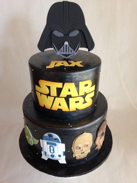 Star Wars party fake black cake