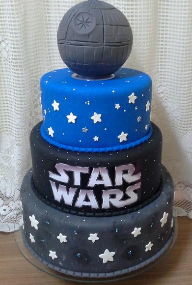 Star Wars party fake biscuit cake