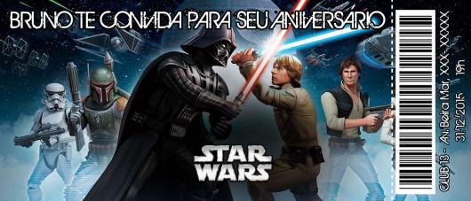 Star Wars Party Invitation Ticket