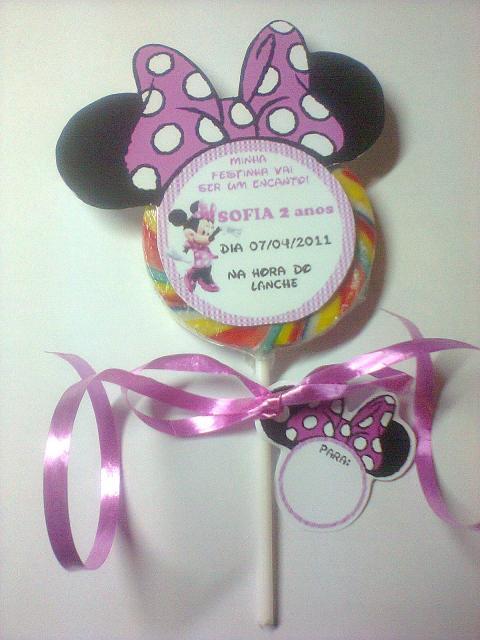 Minnie Party Pink Lollipop Invitation