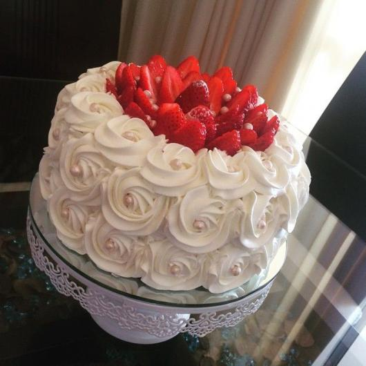 Simple white whipped christmas cake