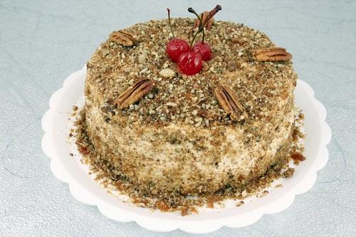 Simple walnut Christmas cake with cherry