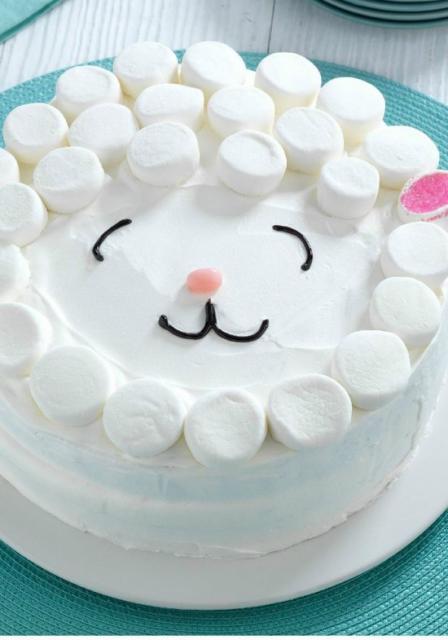 Simple white marshmellow Christmas cake