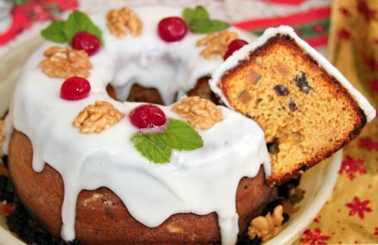 Simple homemade nut Christmas cake