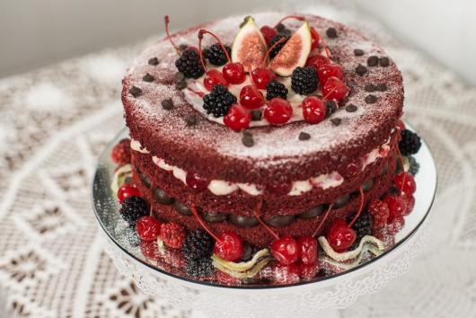 Simple Naked Red Fruit Christmas Cake