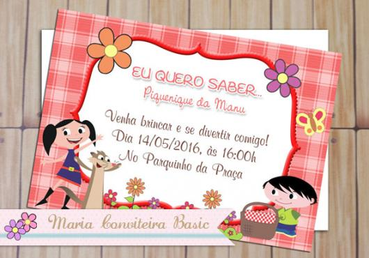 Luna Show invitation with picnic tablecloth and flowers print