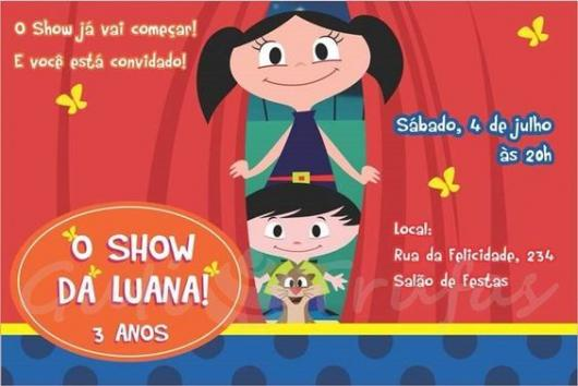 Luna show invitation with characters opening red curtains