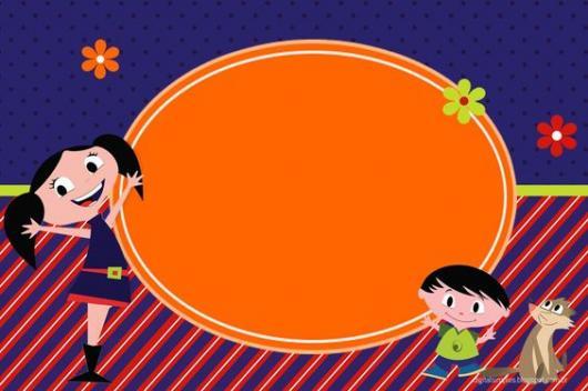Luna Show invitation to print in blue, red and orange