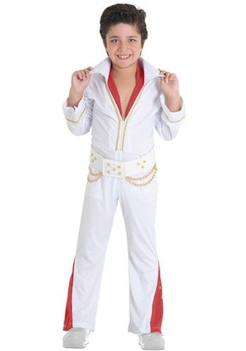 Boy dressed in white and red jumpsuit, imitating Elvis Presley.