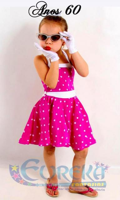 Pink dress with white polka dots.