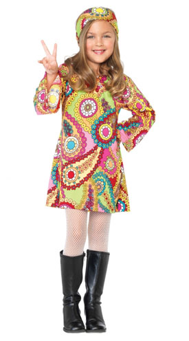Girl in colorful dress, white pantyhose and black boot.