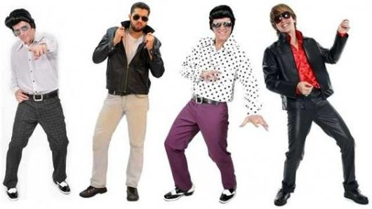Set up with four different types of 60s costumes for men.
