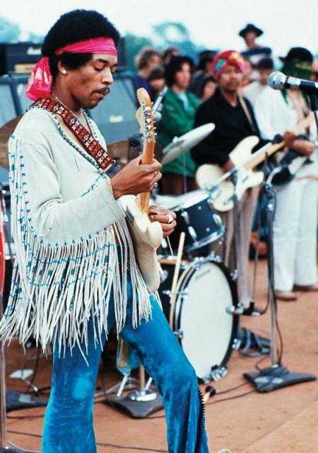 Jimi Hendrix at the First Woodstock Festival.