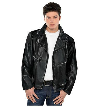 Man in jeans, black jacket and white t-shirt.