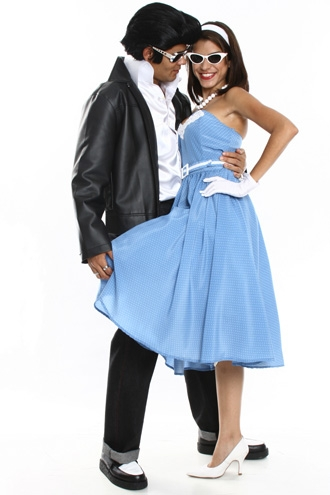Couple in 60s costumes.