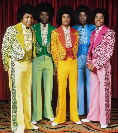 Jackson Five, in colorful suits.