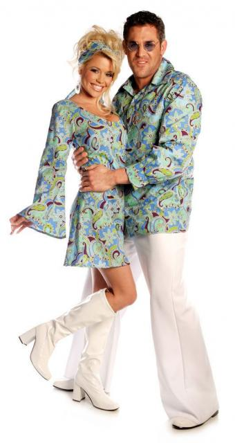 Couple wearing the same pattern on a man's shirt and a woman's dress.