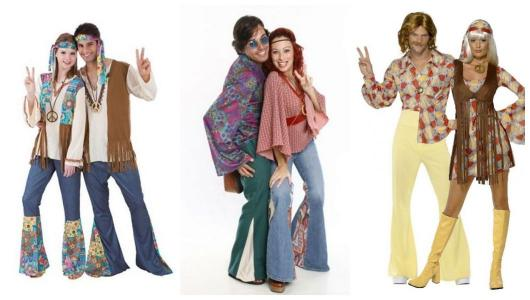 Montage with three different 60's costumes for hippies.