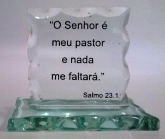 glass piece with gospel passage