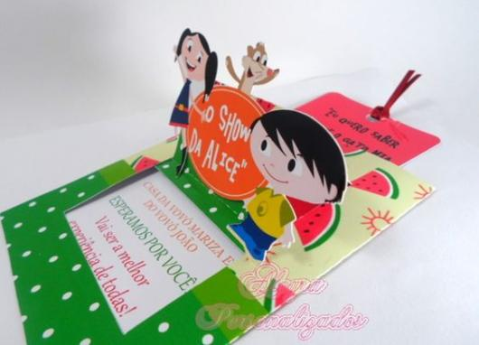 Luna Show invitation with watermelons and character relief