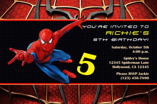 Spider-Man Invitations Red and Black Card