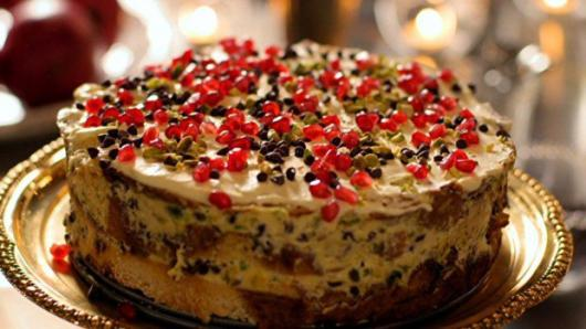 Simple walnut frosted Christmas cake