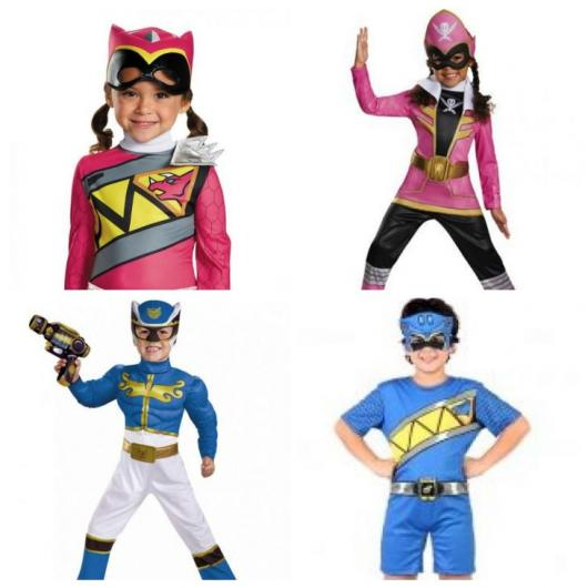 Montage with two pink and two blue costumes.