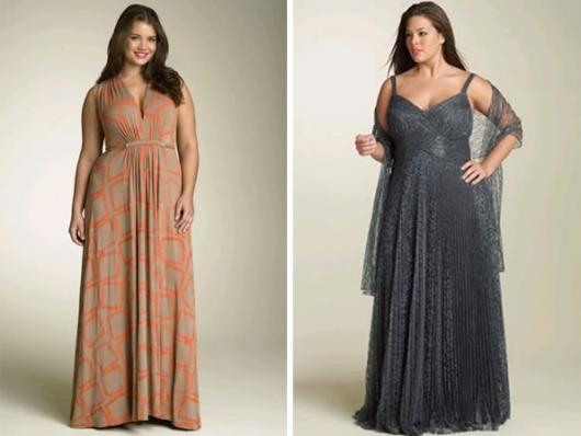 Models wear a plus size dress in lead gray and beige print, long model.